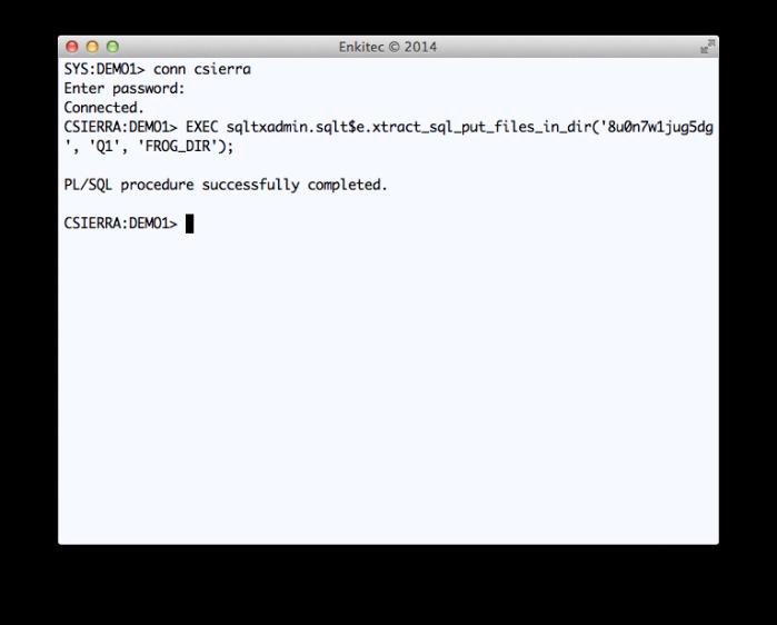 Execution of Public API SQLTXADMIN.SQLT$E.XTRACT_SQL_PUT_FILES_IN_DIR